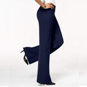 NWT Style & Co Stretch Wide-Leg Pant Navy 8S #2449